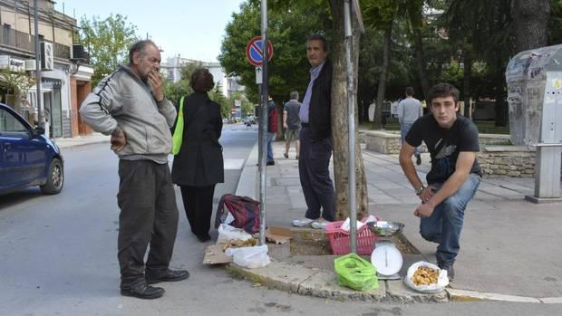 In rustic town of Vico del Gargano, mushroom vendors sell there wares curbside. (Lili Okuyama)