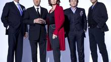 Dragons' Den cast, from left: Jim Treliving, Kevin O'Leary, Arlene Dickinson, Robert Herjavec, Bruce Croxon. (CBC image)