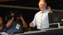 Los Angeles Dodgers announcer Vin Scully gets applause from the crowd after it was announced he would return to Dodgers booth for 66th during the game against the Atlanta Braves at Dodger Stadium. (Jayne Kamin-Oncea/USA Today Sports)