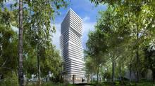 The 32-storey Exhibit condominiums, Bloor and Avenue Rd., Toronto. Designed by architect Rosario Varacalli for Bazis, Metropia and Plazacorp.