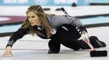 Canada's skip Jennifer Jones watches her shot during their women's curling round robin game against Denmark at the Sochi 2014 Winter Olympic Games in the Ice Cube Curling Center February 13, 2014. (INTS KALNINS/REUTERS)