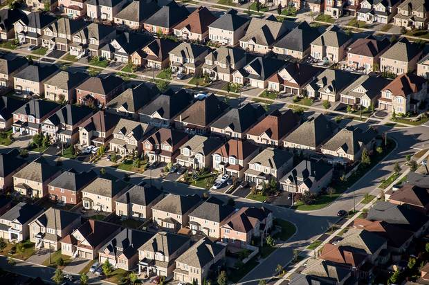 Homes are seen in this aerial photo of a Toronto neighbourhood on Oct. 2, 2017.