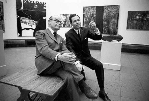 Tate Gallery Director Sir John Rothenstein, left, at the Art Gallery of Toronto [now the Art Gallery of Ontario] with its then-director, William J. Withrow in 1963.
