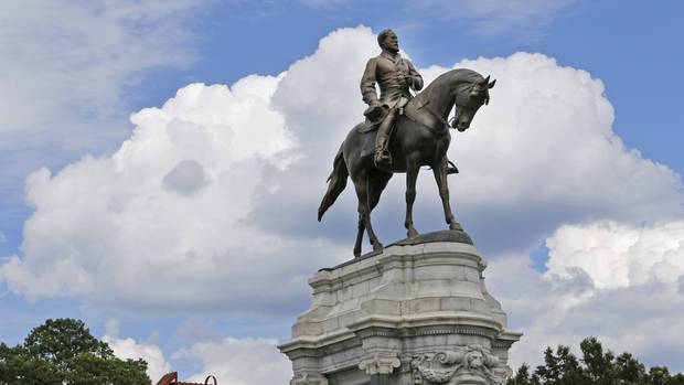 A statute of Confederate Gen. Robert E. Lee that stands in the middle of a traffic circle on Monument Avenue in Richmond, Va.