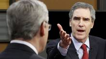 Liberal Leader Michael Ignatieff and his Conservative rival, Stephen Harper, square off in the 2011 English-language leaders' debate in Ottawa. (Adrian Wyld/AFP/Getty Images/Adrian Wyld/AFP/Getty Images)