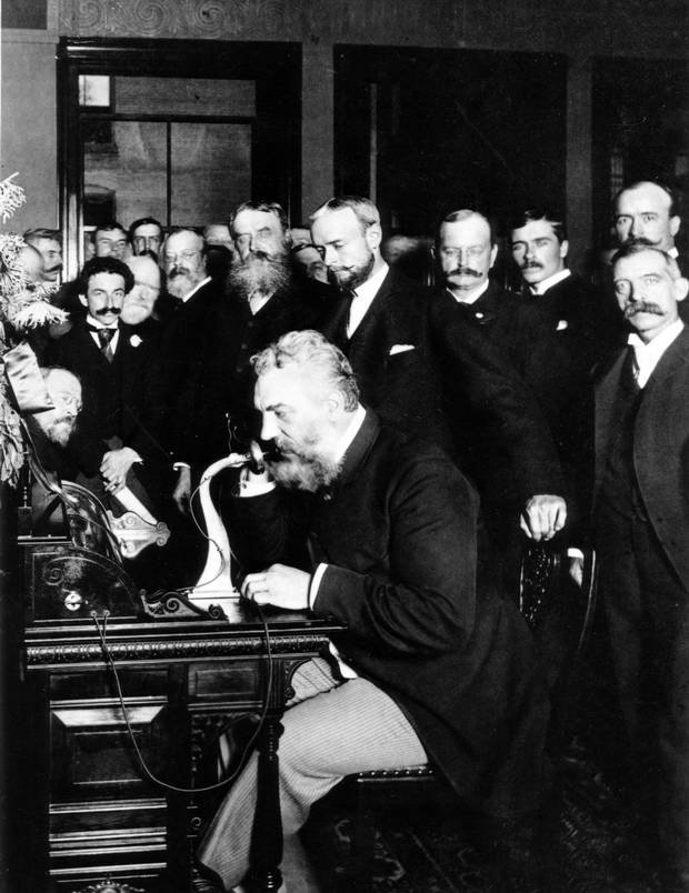 Using his own invention, Alexander Graham Bell helped start telephone service between New York and Chicago in 1892.