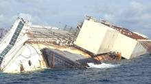 The wreck of the Costa Concordia awaits salvage off the coast of Tuscany on Sept. 15, 2013. (Eric Reguly/The Globe and Mail)