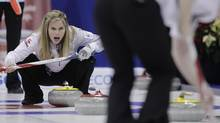 Skip Jennifer Jones yells to her sweepers (John Woods/The Canadian Press)