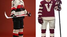 Jason Spezza (left) and Ryan Kessler model the Heritage Classic jerseys to be worn by the Ottawa Senators and Vancouver Canucks for their March 2, 2014 outdoor game (Ottawa Senators / Vancouver Canucks)
