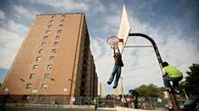 The basketball court in the Clarks Corners (Birchmount and Finch) area of Toronto. (Tim Fraser/Tim Fraser for The Globe and Mail)