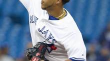 Toronto Blue Jays starting pitcher Henderson Alvarez throws against the Chicago White Sox in the first inning of their American League MLB baseball game in Toronto August 14, 2012. (FRED THORNHILL/REUTERS)