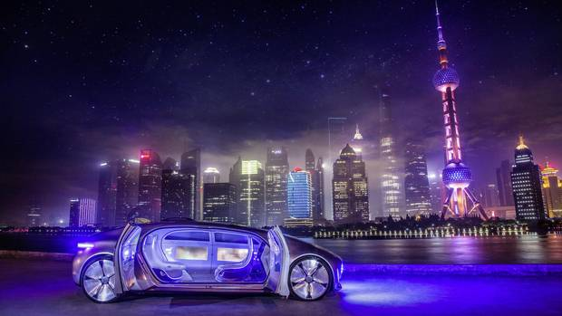 The Mercedes-Benz F 015 Luxury in Motion in Shanghai, China in May, 2015.