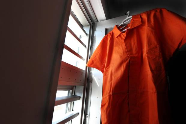 The orange jumpsuit that prisoners will wear at Her Majesty's Penitentiary in St. John's is seen inside a cell of the facility.