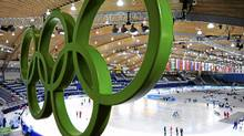 The Olympic Rings hang over Richmond Olympic Oval during speed skating training ahead of the Vancouver 2010 Winter Olympics February 8, 2010. (Dylan Martinez / Reuters/Dylan Martinez / Reuters)