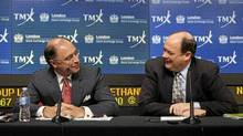 London Stock Exchange CEO Xavier Rolet (L) and TMX Group CEO Tom Kloet speak to the media regarding the merger of the TSX and the LSE in Toronto, February 9, 2011. (Mark Blinch/Reuters/Mark Blinch/Reuters)