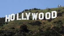 The iconic Hollywood sign in the hills above Hollywood, California.