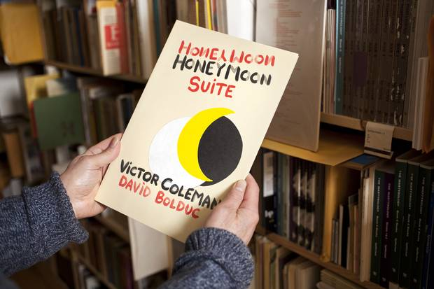 Honeymoon Suite features poems by Victor Coleman and artwork by David Bolduc.