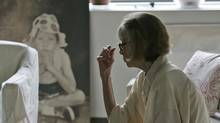 Author Joan Didion is shown near a painting of her daughter Quintana in her New York apartment in 2007. (Kathy Willens/AP)