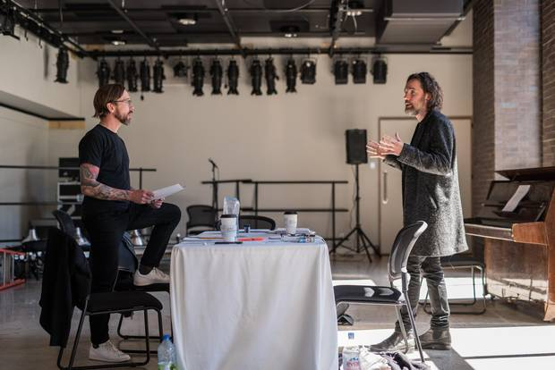 Ben Kowalewicz and Kevin Drew in rehearsal