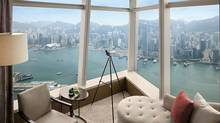 The spectacular view from a room at The Ritz-Carlton Hotel in Hong Kong.