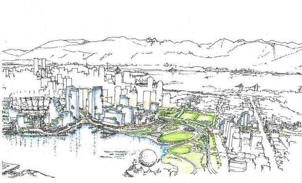 While most of Vancouver's waterfront has been dedicated to walkways and bicycle paths, the emerging Northeast False Creek will include commercial activity to draw residents and visitors alike.