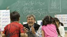 Native Elder Lawrence Michel talks with the kids in the class room teaching traditional words at Chief Atahm School in Chase, B.C. (Jeff Bassett/The Globe and Mail/Jeff Bassett/The Globe and Mail)