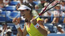 Laura Robson of Britain celebrates match point against Li Na of China during their women's singles match at the U.S. Open tennis tournament in New York August 31, 2012. (JESSICA RINALDI/REUTERS)