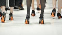 Models walk the runway for during the 2012 Toronto Fashion Week in Toronto on March 14, 2012.