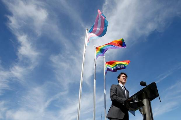 Justin Trudeau speaks during a pride flag raising ceremony on Parliament Hill in Ottawa, Ont., June 14, 2017.