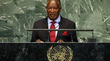 Zambia's President Michael Sata addresses the United Nations in New York Sept. 26, 2012. (MIKE SEGAR/REUTERS)