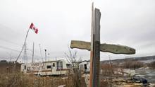 A makeshift cross in a part of Halifax once known as Africville on Wed., Feb. 24. The black neighbourhood was razed in the 1960s, an act the city apologized for on Wednesday. (Tim Krochak/Tim Krochak/The Canadian Press)