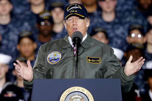 U.S. President Donald Trump speaks to Navy and shipyard personnel aboard nuclear aircraft carrier Gerald R. Ford in Newport News, Va., on March 2, 2017.