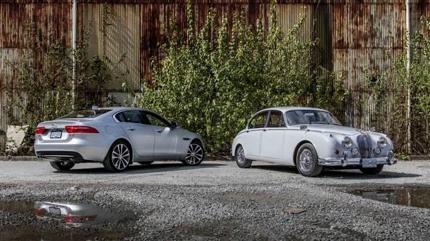 The modern Jaguar XE meets its sport sedan grandfather, the Jaguar Mk II 3.8.