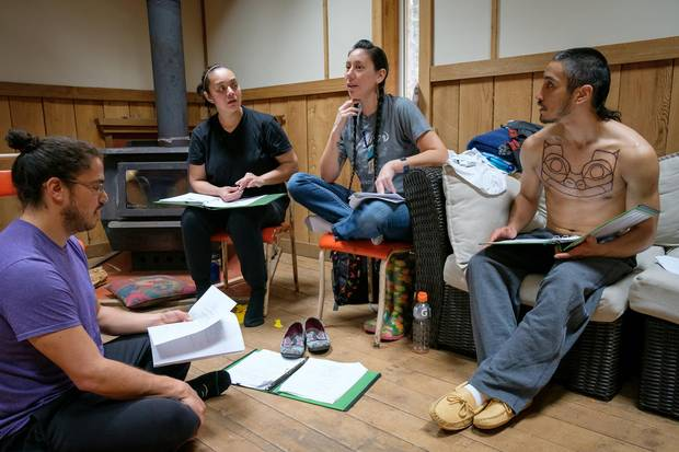 The cast of Edge of the Knife rehearse their lines in Hiellen, Haida Gwaii, B.C., in April. The film, which has been in the works since 2015, is the first feature film to be made in the Haida language.