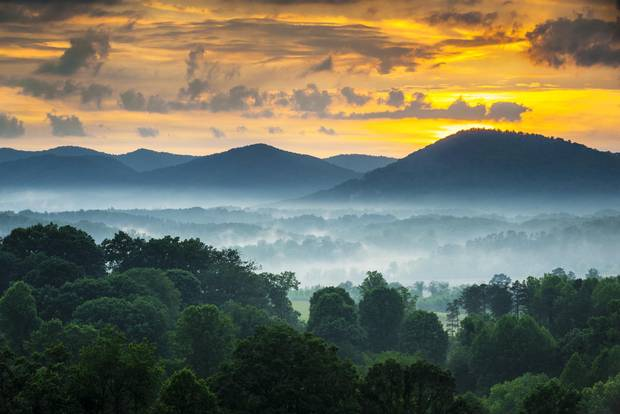 The Blue Ridge Mountains at sunset.