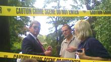 """FBI agents gather in front of the two-story residence in Yonkers, N.Y. where two suspected Russian secret agents Vicky Pelaez and a man known as """"Juan Lazaro"""" were arrested on Monday June 28, 2010. (Shawn Cohen/The Journal News, Shawn Cohen/AP)"""