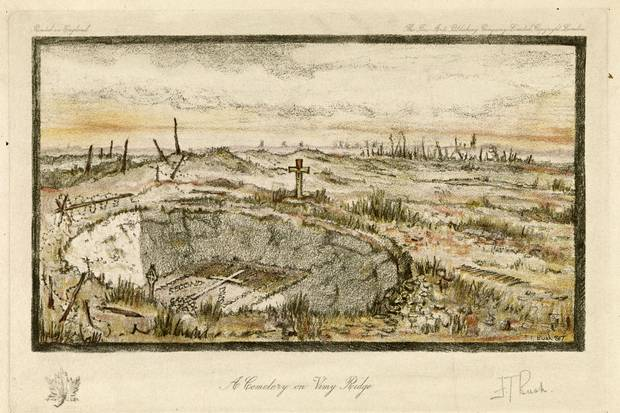 A sketch shows a cemetery on Vimy Ridge, with a memroial at the bottom of a shell crater for fallen soldiers of the 2nd Canadian Division. Print by Lieutenant Frederick Thwaites Bush.