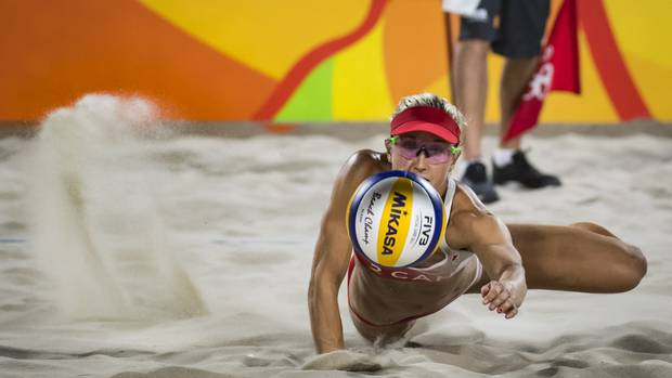 Canadian Heather Bansley in action during her preliminary beach volleyball match against team Swiss at Rio Olympics August 10, 2016.