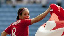 Canada's Diana Matheson, who scored the game-winning goal, celebrates her team's victory against France in their bronze medal women's soccer match at the 2012 London Summer Olympics, Thursday, Aug. 9, 2012 at The Ricoh Arena Stadium in Coventry, England. (Jon Super/AP)