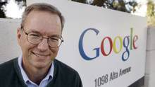 Google Executive Chairman Eric Schmidt smiles outside of Google headquarters in Mountain View, Calif. (Paul Sakuma/AP)