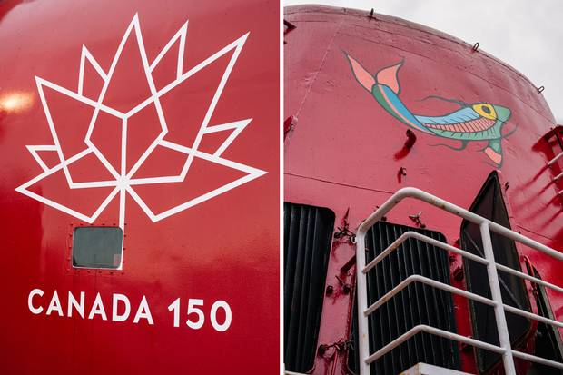 Indigenous art and the Canada 150 logo adorn the ship. Reconciliation with Indigenous peoples is a key theme of the voyage.