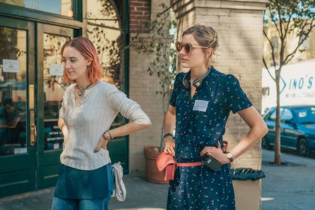 Director Greta Gerwig, right, and Saoirse Ronan on the set of Lady Bird.