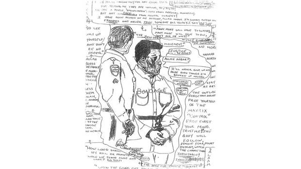 A drawing seized from Lee Boyd Malvo after his arrest. Muhammad's influence is still obvious. The writings contain references to The Matrix and the lyrics of Bob Marley.
