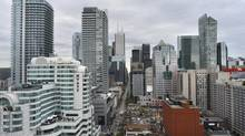 Looking east along King St. West from Peter St. in downtown Toronto from an upper floor at 375 King St. West on Sept 9 2013. The Hyatt Regency Toronto hotel is at left with bank towers located centre of photo. (Fred Lum/The Globe and Mail)