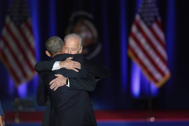 President Barack Obama embraces Vice-President Joe Biden after his farewell speech.
