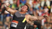 Dylan Armstrong of Canada competes during the shot put event at the Golden Spike International track and field meeting in Ostrava May 25, 2012. (Petr Josek/Reuters/Petr Josek/Reuters)