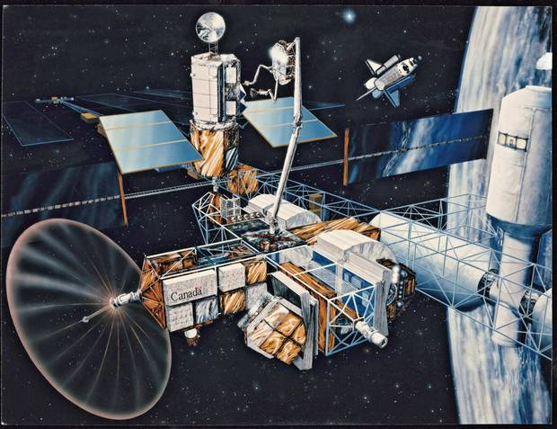 An artist's impression of a proposed Canadian integrated service and test facility, which would be built on a U.S. space station. It would be used to service, test and repair space vehicles, satellites and other structures.