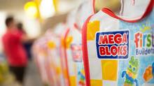 Mega Bloks printed bags are shown in Mega Brands' Canadian factory. Canada's national champion in the global toy market is working on a growth strategy that includes a target of $500-million in sales by next year. (The Canadian Press)