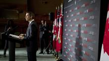Ontario Premier Dalton McGuinty speaks to the media during a pre-budget press conference on Feb. 21, 2012. (Peter Power/The Globe and Mail)