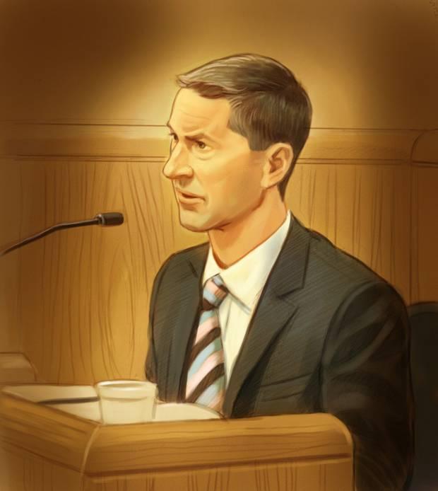 Nigel Wright testifies on Aug. 12, 2015.